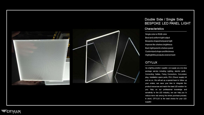 Bespoke thickness led panel light